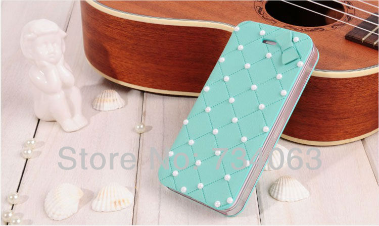 Wholesale Bling Designer Pearls Fashion Luxury Cute Novelty Flip PU Leather Case for iphone 4s 4 Drop/Free Shipping 200pcs(NSE)(China (Mainland))