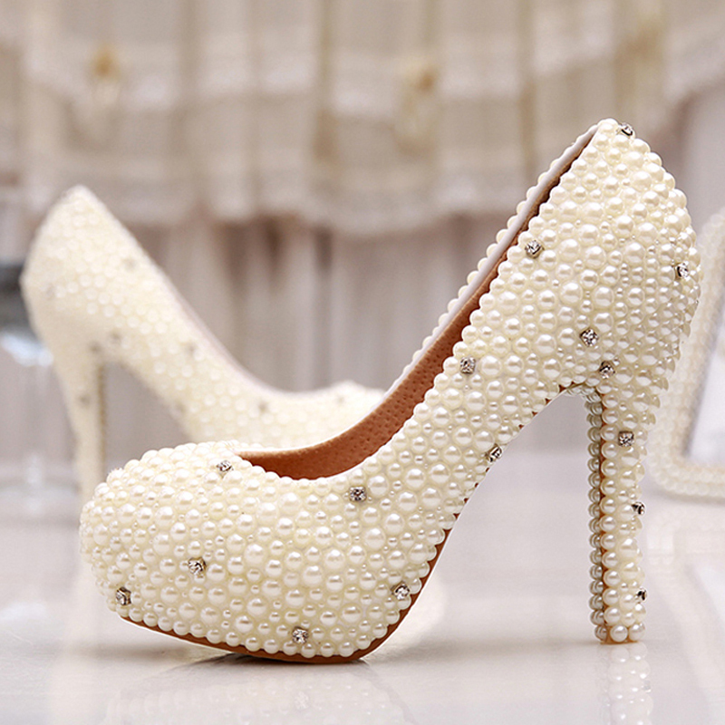 Women Wedding Shoes Bridal 2015 Spring Single High Heels Ivory Pearl Rhinestone Party Prom Shoes Women Pumps Mother of Bride<br><br>Aliexpress