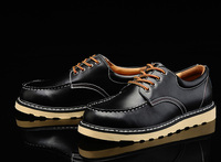 Man Shoes England Style Men's Bullok Shoes Lace Up Winter Martin Boots Round Toe Genuine Leather Boots