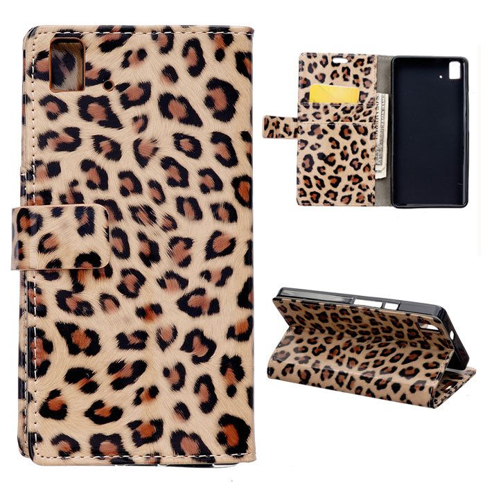 For BQ Aquaris E5 Case Fashion Leopard Wallet PU Leather Case Cover For BQ Aquaris E5 Flip Cover With Card Slots Stand Holder(China (Mainland))