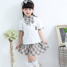 Korean style cute style fancy students uniform ties shirts skirts set with bowtie 2pcs primary school uniform for girls teens