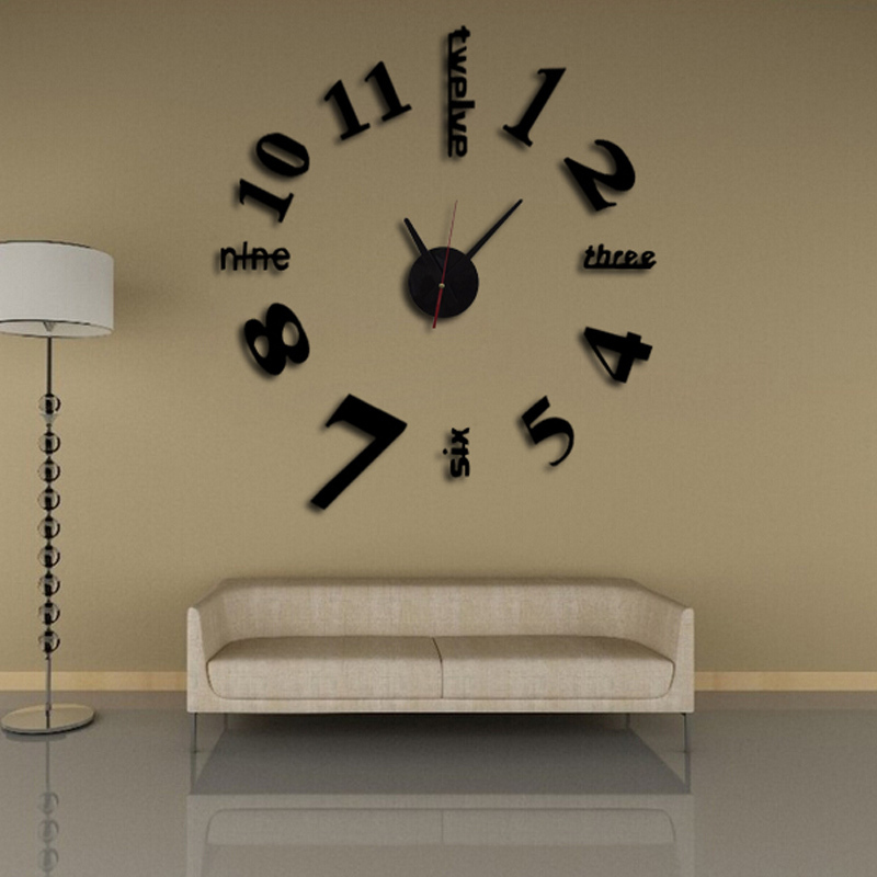 2016 sale quartz watch wall clock clocks large decorative living room needle modern 3d acrylic. Black Bedroom Furniture Sets. Home Design Ideas