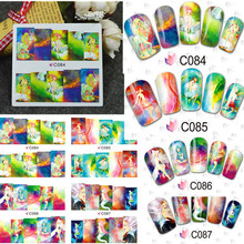 1sheet Water Transfer Nail Stickers Decals Full Cover Wraps Tip Decoration DIY Beauty Salon Nail Accessories Supplies BLE C84-87