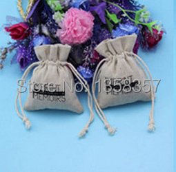 100pcs/lot wholesale jute/linen/flax drawstring gift bags for cosmetic/ring/books packaging,Size be customized,Various colors(China (Mainland))
