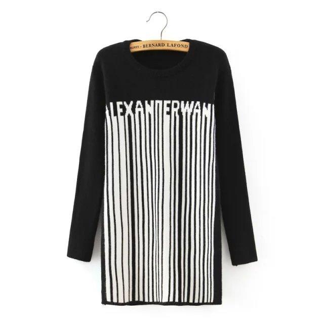 Qb56 мода женщин зима черный письмо полосатый рисунок пуловер трикотаж о-образным ...