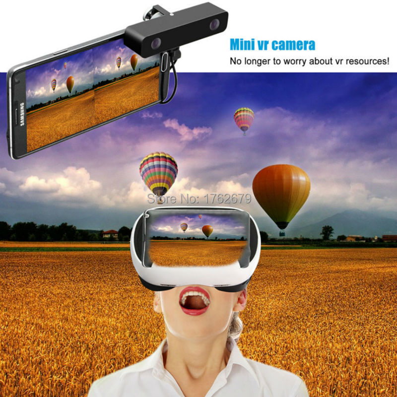 Black Double HD Dual lens Video micro usb Camera for Android Telephone,3D VR Camcorder come with 3d VR glasses(China (Mainland))