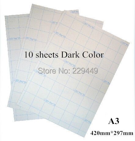 A3*10 pcs Dark Color Laser Heat Thermal Transfer Printing Paper With Heat Press Machine Heat transfers For Clothes Fabric(China (Mainland))