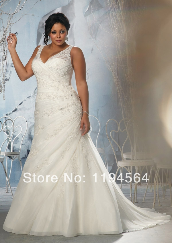 Appliques and Beaded Plus Size V Neck Zipper Back Bridal Gowns White Organza Perfect Wedding Dress 2014 Free Shipping WH1204(China (Mainland))