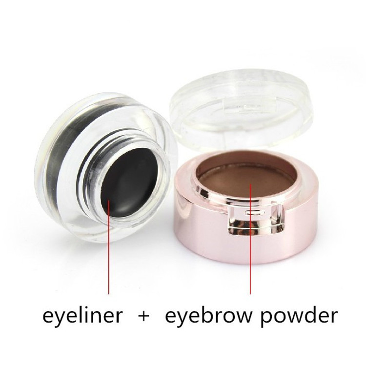2015 Brand New Y.CID Cosmetics Eye Shadow Brow Makeup Set 2 IN 1 Eyebrow Powder Waterproof + Black Eyeliner Gel Brush - Guangzhou Shopping Mall store