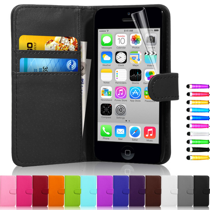 New Leather Dirt-resistant Luxury Flip Wallet Coque Cover Case For apple iPhone 5C 6 Hot Sale Cell Phone Case Free Gift(China (Mainland))