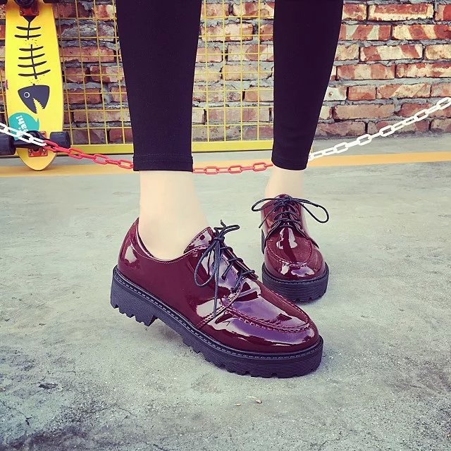2016 Spring Fashion Retro Women Shoes Lace-up Woman Casual Creepers Soft Female Oxford For Flat Womens Flats(China (Mainland))