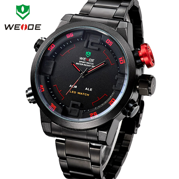 WEIDE Analog Digital LED Date Day Alarm Men s Watch Outdoor Sports Watches Quartz Full Steel