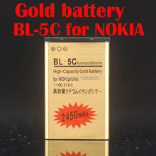 1Pcs High Capacity 2450mAh Replacement BL-5C Gold Li-ion Battery Rechargable For Nokia C2-06 C2-00 X2-01 1100 6600,free shipping
