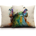 Wholesale Watercolor Peacock Printing Cushions For Sofas 45 45cm Birds Cushions Home Decor Linen Chair Cushions