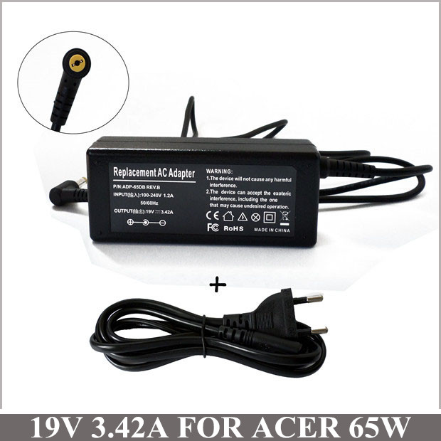 19V 3.42A 65W AC Adapter Charger Power Supply Cord For Acer Aspire 1830 5253-BZ656 5552-7803 Laptop V5 S3 E1 Series(China (Mainland))