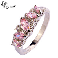 lingmei Romantic Jewelry Love Wedding Rings for Women Lady Pink Topaz AAA Silver Ring Size 7 8 9 10 Free Shipping Wholesale
