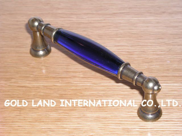 128mm L145xH40mm Free shipping crystal glass bronze-coloured furniture handle