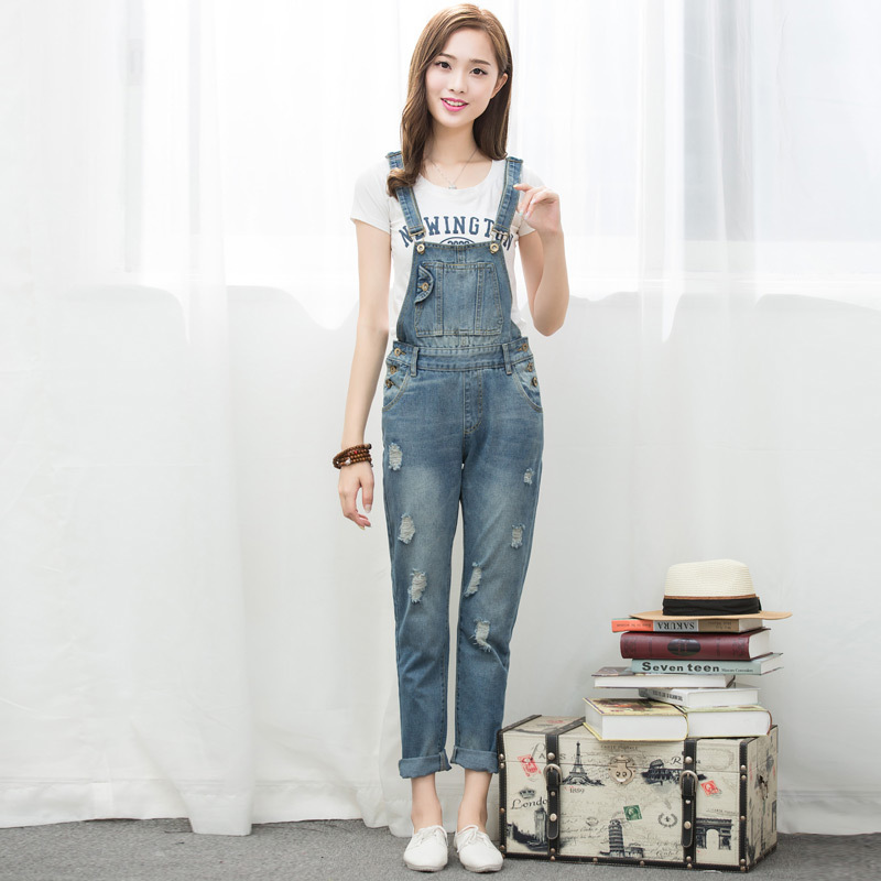 2016 New Style Denim Overalls Women Bib Jeans Causal Pockets Holes Jeans Ripped Jeans Blue Suspenders Trousers WYS03(China (Mainland))