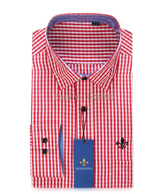 2014 Male hot Business brand embroidery LOGO casual lattice Long Sleeve Shirt men's clothing M XL XXL XXXL - Jerry's shop store