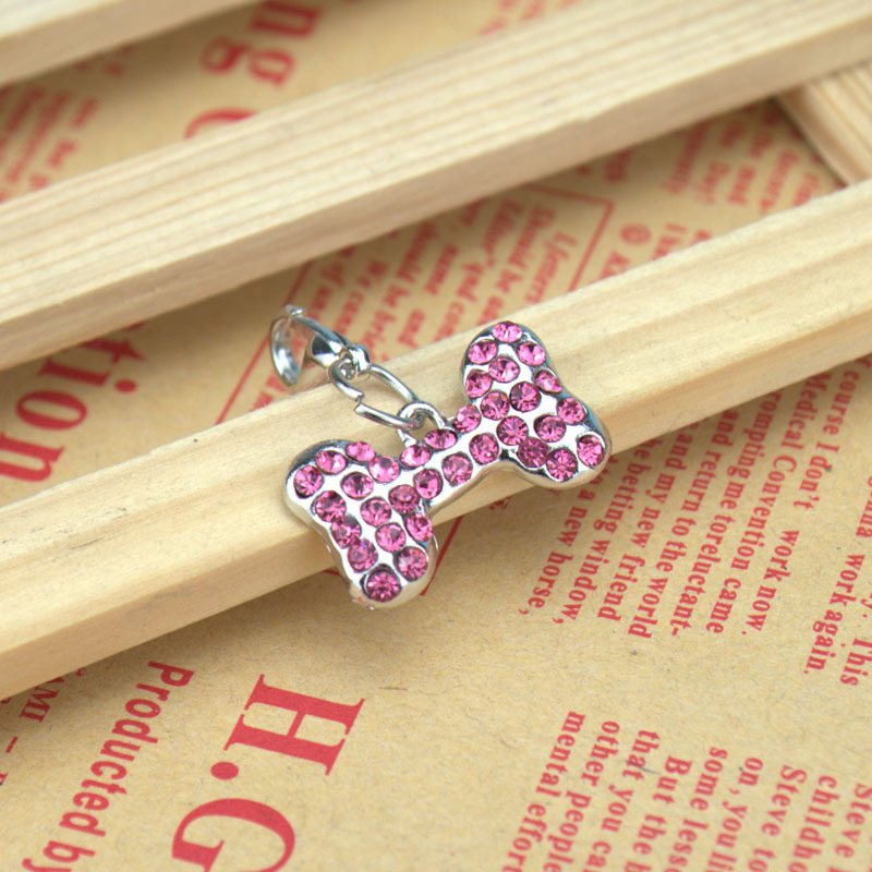Free Shipping 10pcs/lot Swarovski Crystal Pet ID Tags - Bone Shape- 4colors With Keychain(China (Mainland))