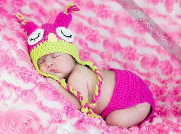 Newborn Boy Girl Baby Cute Crochet Knit Owl Costume Photography Photo stylish(China (Mainland))
