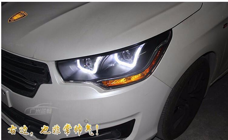 Car Styling For Citroen C4L headlights 2013-2014 C4 led headlight C4 drl projector headlights H7 hid Q5 Bi-Xenon Lens low beam