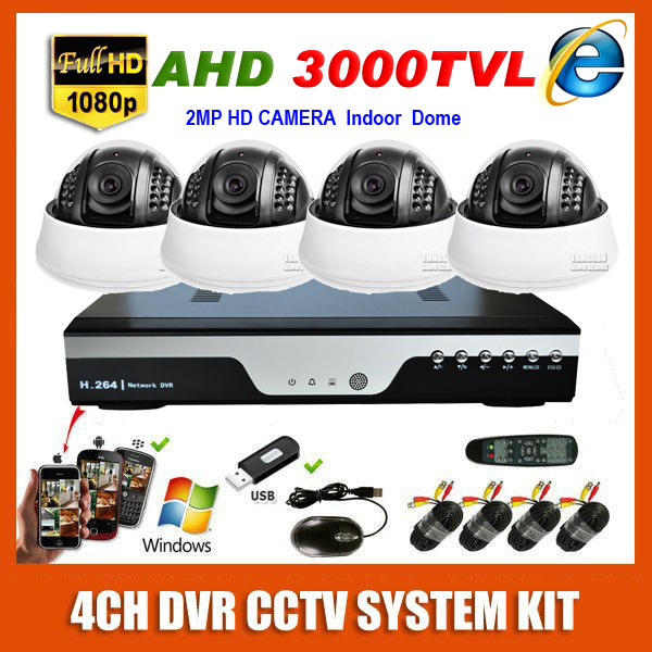 HD 4 Channel Home 2MP Security Camera 1920*1080P AHD 3000TVL Video Surveillance Indoor Mini Small Dome 4CH CCTV System Kit(China (Mainland))