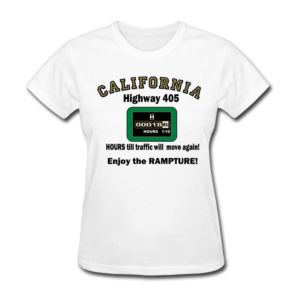On sale 100 cotton women t shirt california highway 405 for Make a photo t shirt