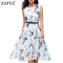 Buy ZAFUL 2017 Summer Women Vintage Dress Retro Robe Rockabilly Hepburn 50s Sleeveless Print Party Tunic dresses Feminino Vestidos for $15.28 in AliExpress store