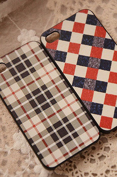 Colored drawing classic lovers design vertical stripes plaid slanting stripe plaid for iphone set for iphone 4s phone case