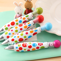 40pcs/lot Polka dot print candy multicolor cute creative stationery bowling ball point pens thick fat gift