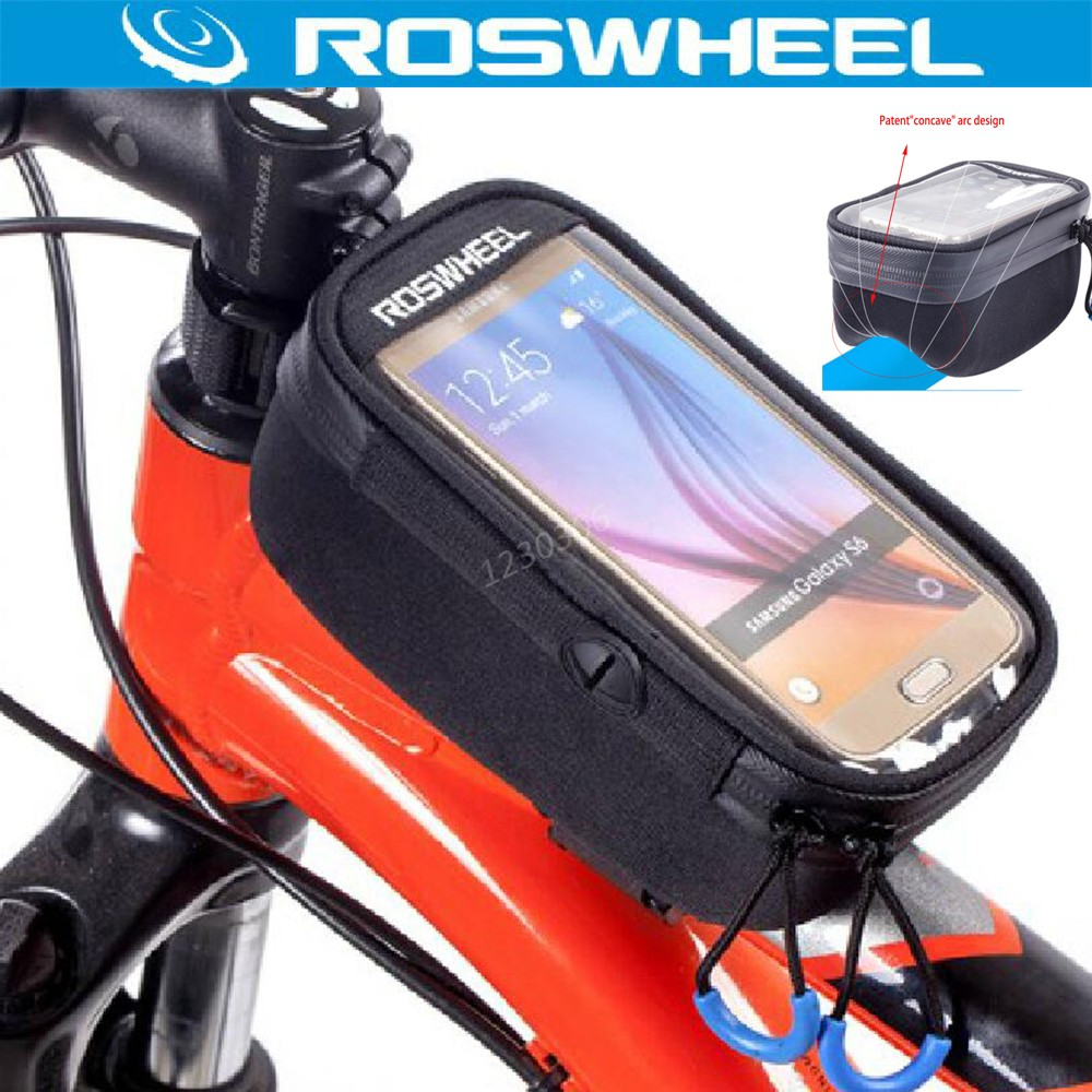 ROSWHEEL Touchscreen Bicycle Bag 5.2'' 5.7'' Bike Front Frame Tube Concave Bag Cycling Accessories Luggage Rack Bolso Manillar()