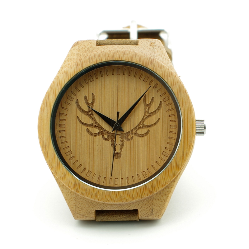 Engraved Buck Head Natural Wood Watch With Genuine Cowhide Leather Lovers Luxury Customed Watches with Paper Gift Box Idea Gifts(China (Mainland))