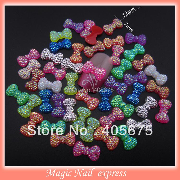 100pcs mixed 3d nail art bows Neon glitter bling nail resin bow ties flat back nail decoration DIY accessories for phone(China (Mainland))