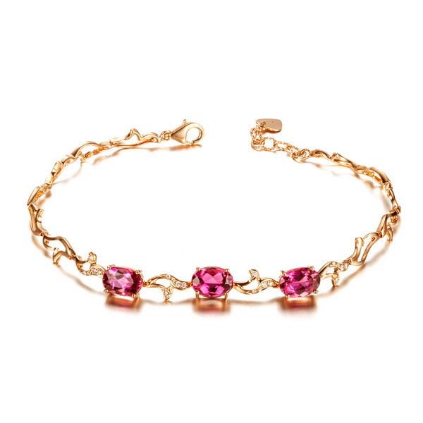 2013New  Engagement Gift GVBORI 18K Rose Gold Natural Red Tourmaline Gemstone Bracelet  For  Women  Fine Jewelry Valentine<br><br>Aliexpress