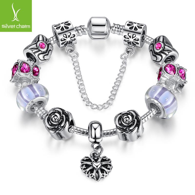 2016 Bamoer 925 Sterling Silver Bead Heart Charm Strand Bracelet for Women Fine Jewelry Fit Original Bracelets Gift(China (Mainland))