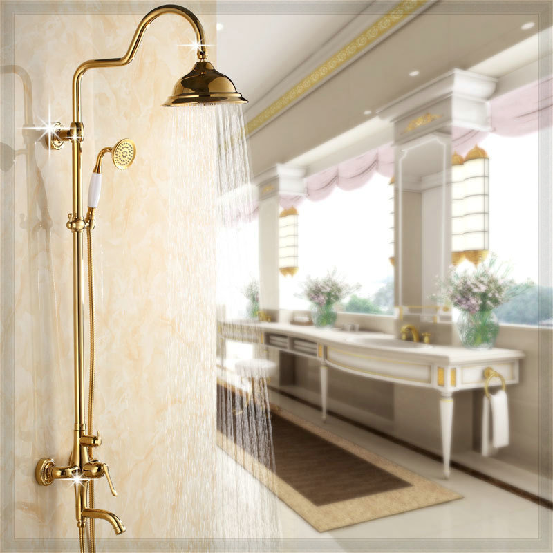 Set 3 features gilded rainshower shower head copper bathroom faucets dropship faucet seat(China (Mainland))