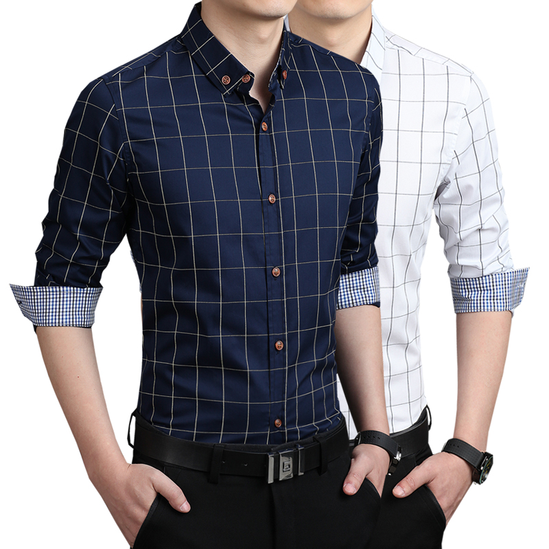 New men casual shirts slim fit m 3xl 100 cotton clothing for Cotton dress shirts for men