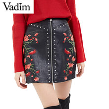 Buy Women PU leather flower embroidery zipper skirts rivet design faldas European style fashion streetwear black mini skirts BSQ512 for $15.60 in AliExpress store