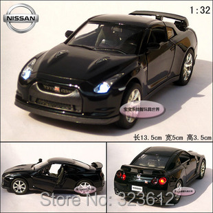 Free shipping New 1:32 Nissan GTR R35 Alloy Diecast Vehicle Model Car Toy Collection With Sound&Light Black B257(China (Mainland))