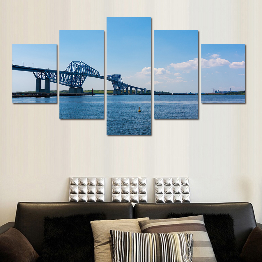 Modular picture 5 Panel Modern Wall Painting River Water City Scenery Home Decor Art Picture Paint On Canvas Prints Wall Art(China (Mainland))