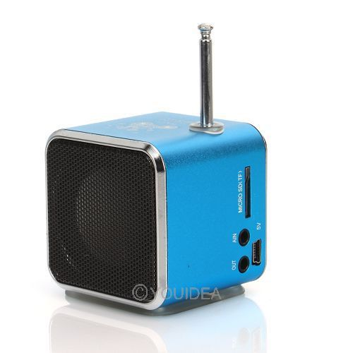 free ship Blue Digital portable Speaker Mini Speaker MP3 Player USB Disk Micro SD TF Card FM Radio Line In/ Out sound box 80452