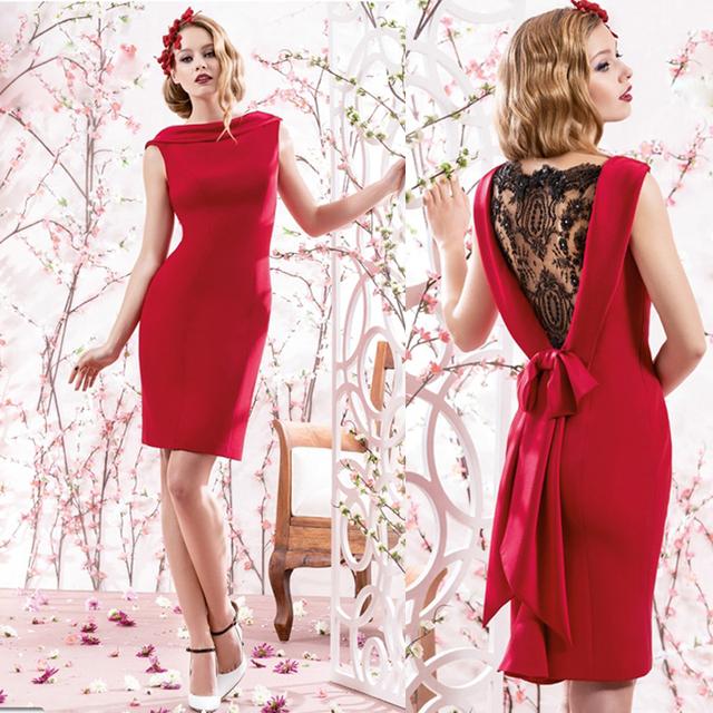 Sexy Красный короткие кружева назад бисером рукавов мать невесты платья с бантом ...