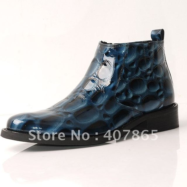 High shoes german leather japanned leather high shoes round toe zipper boots commercial fashion high-top shoes