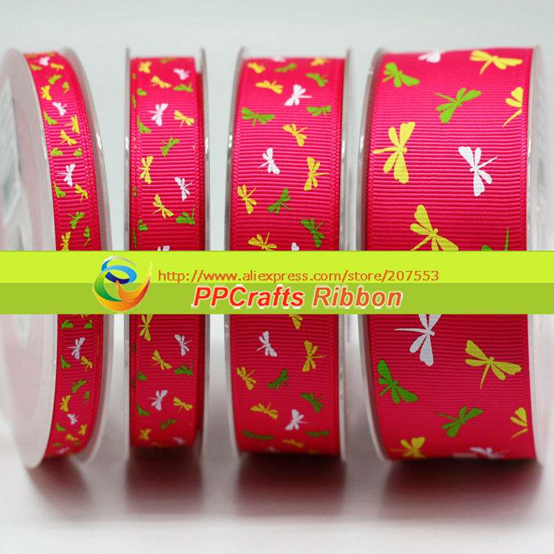 5/8inch 16mm Dragon-Fly printed Grosgrain Ribbon Green/Coffee/Blue/Red/ Pink/White Colors~ 100yds/roll free shipping(China (Mainland))