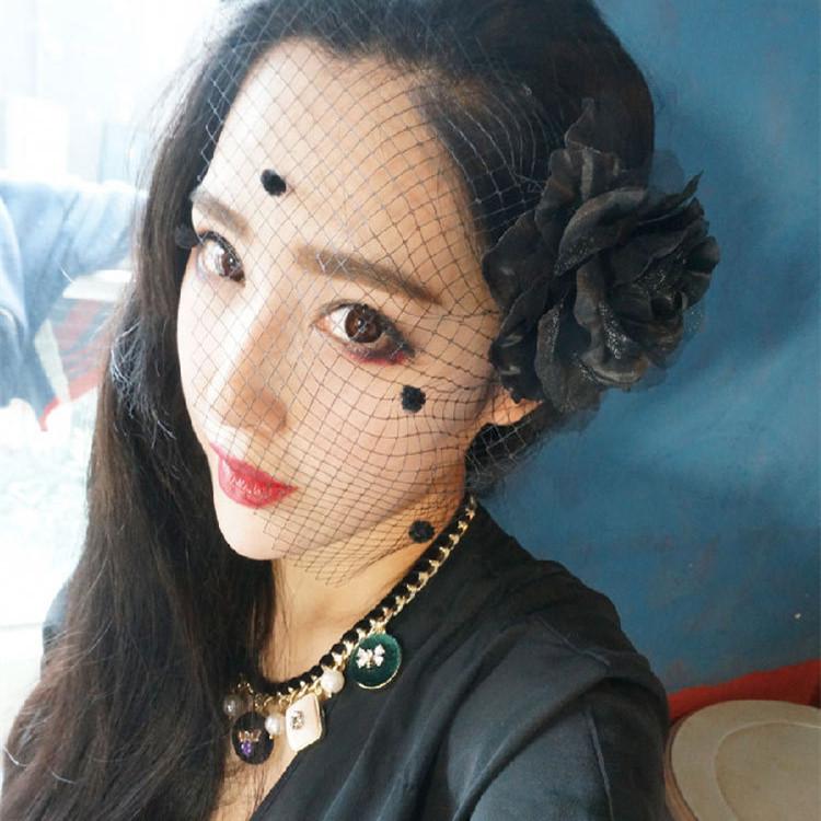 AHO419(12), Fashion Black Tulle Net Short Wedding Floral Veils Birdcage Hair Clip Head Pieces Cap Fascinator Hair Accessories(China (Mainland))