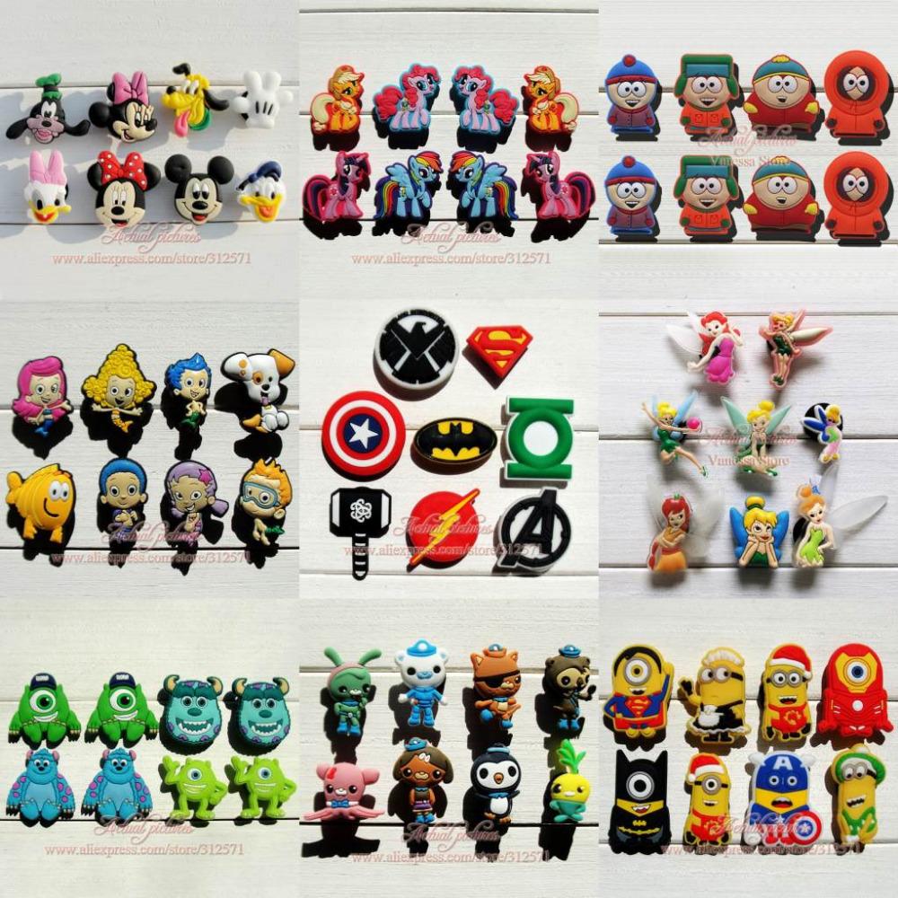 Mix Models 8pcs/lot Mickey Super hero Avengers South Park Minions Monster shoe accessories shoe charms fit croc JIBTZ gift(China (Mainland))