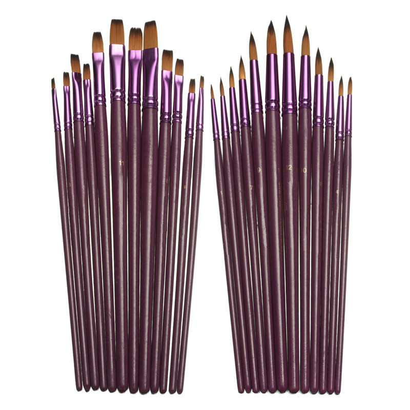 12pcs/lot Different Size Artist Fine Nylon Hair Paint Brush Set For Watercolor Acrylic Oil Painting Brushes Drawing Art Supplie(China (Mainland))