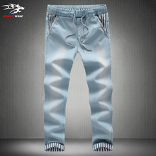 Mens Joggers Jeans New Fashion Drawstring Slim Fit Denim Men's Cuffed Joggers Stretch Elastic Jeans Pencil Pants Casual Jogging(China (Mainland))