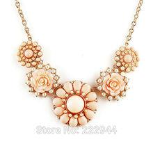Fashion New 2015 Jewelry Ethnic Flower Shape Imitation Rhinestone Necklace Collar Choker Necklace For Women Ys2574(China (Mainland))